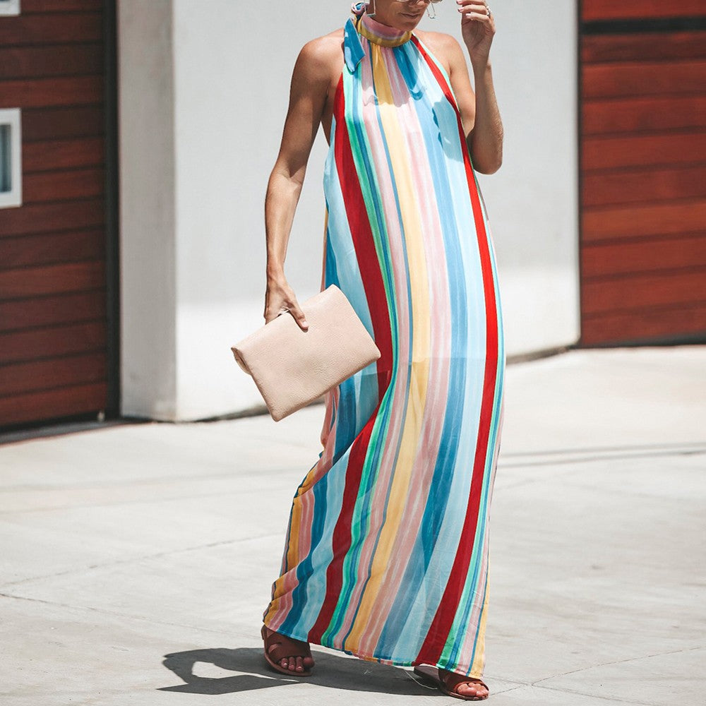 Hot Afro Rainbow Printing Striped Backless Sexy Sleeveless Summer Dress