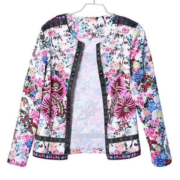Women Multicolor Collarless Botanical Jacket