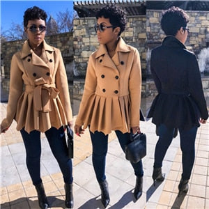 Afro Color Patchwork Woolen Overcoat 2019