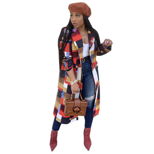 Afro Colorful Plaid Woolen Casual Wool Jacket