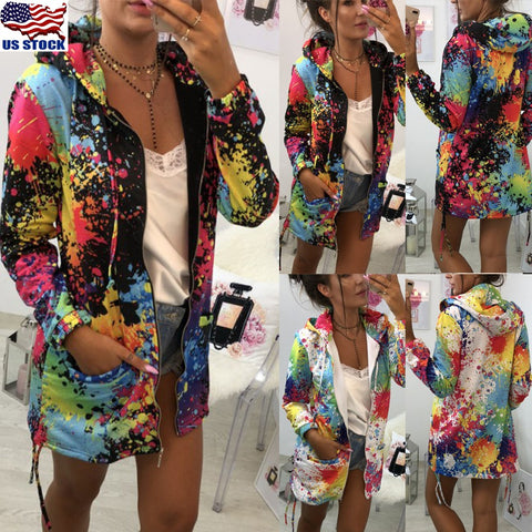 Girls Fashion Colorful Casual Jacket Autumn Casual Zip Coat