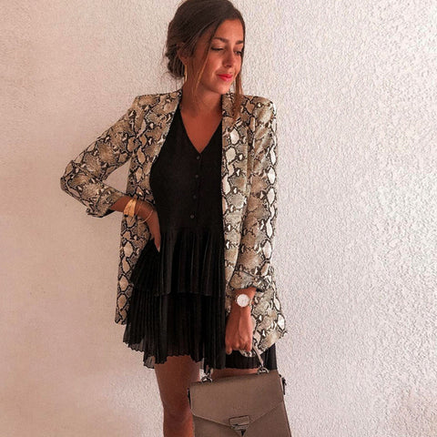 Sexy Snake Print Spring Jacket For Women
