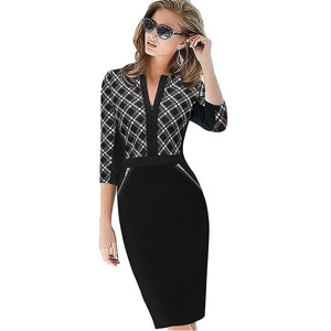 Women Elegant Stretch Charming Bodycon Front Zipper Work Business Casual Dresses