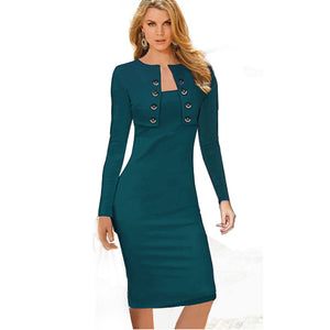 Business Casual Sliming Pencil Dresses Elegant Long Sleeve Office Ladies Wear