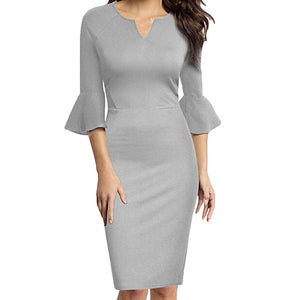 Womens High Waist Slim Sexy Bell Sleeves V-neck Work Dress