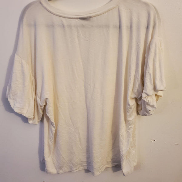 Bobeau Solid Bubble Sleeve Tee White Medium