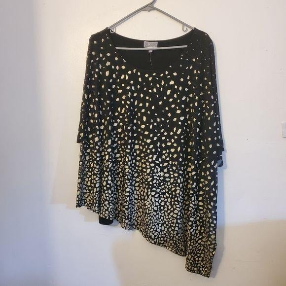 JM Collection Party Time Foil Dot Black Blouse 2x