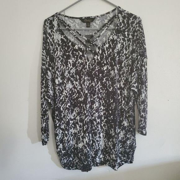 Thalia Sodi Core Fashion Blouse Black White Large