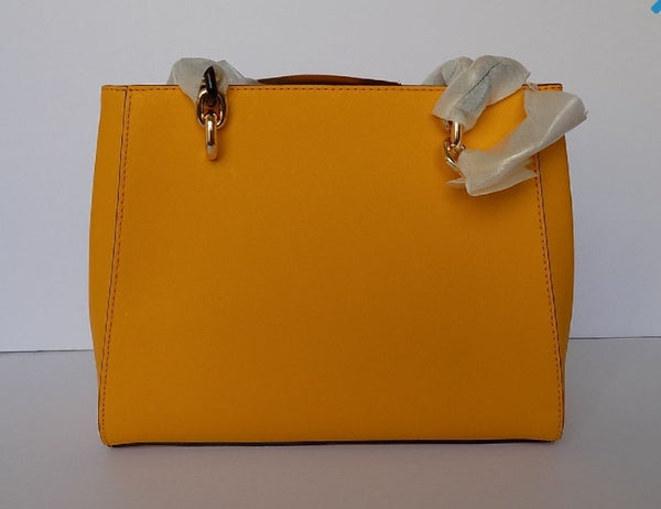 Michael Kors Sofia Jasmine Yellow Leather Medium Tote