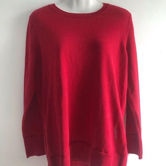 Maison Jules Long Sleeve Ribbed Edge Sweater Red S