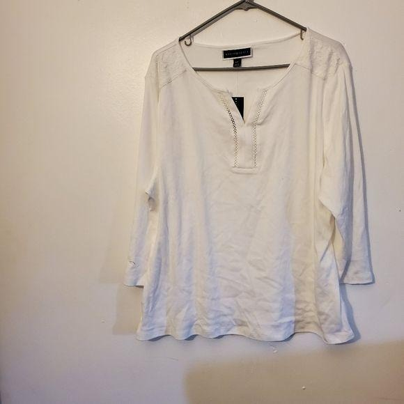Karen Scott Lace Shoulder Shirt White 2XL