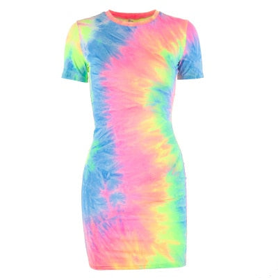 Bodycon Tie Dye Spaghetti Strap Mini Dress