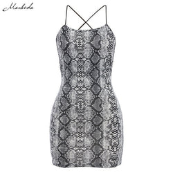 Backless Bodycon Sleeveless Halter Snake Print Mini Dress