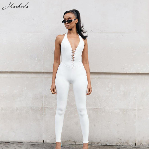Solid Deep V-neck Sleeveless Tie Up Halter Jumpsuit Halter