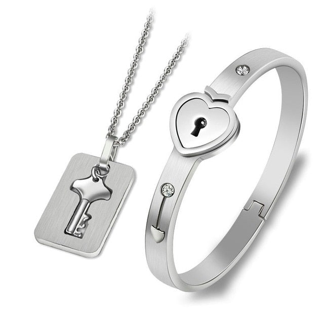 Concentric Lock Key  Bracelet Necklace Couple Sets
