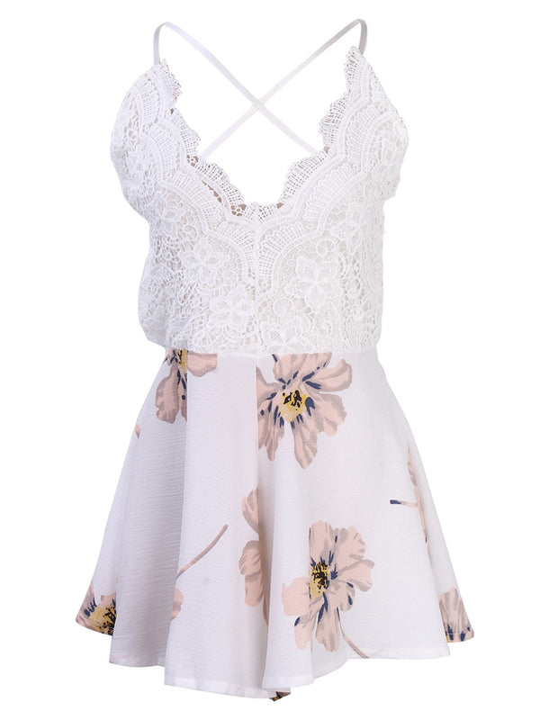 V Neck Lace Patchwork Backless Floral Print Romper