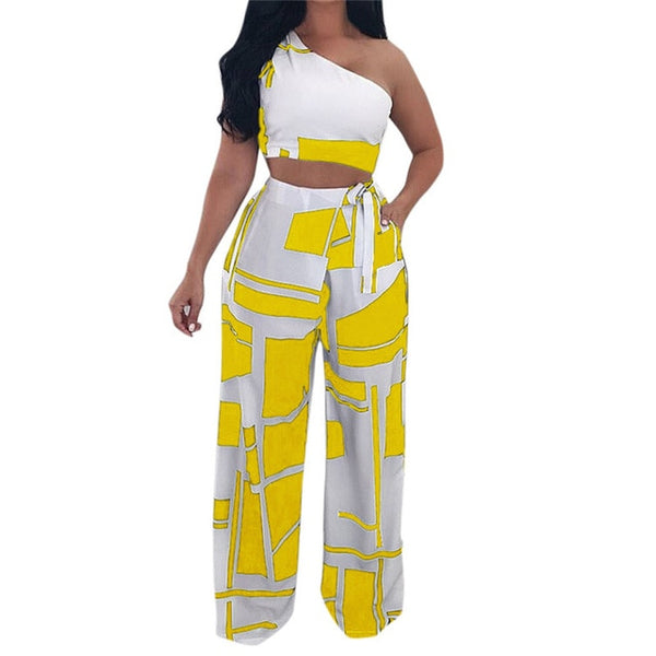 Sexy Strapless Crop Top Bandage Long Pants Two Piece Set