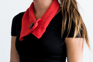 Hand knitted Short Single Button Organic Cotton Scarf