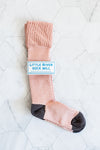 Basket Weave Knee-Hi Socks in Pale Pink | by Little River Sock Mill
