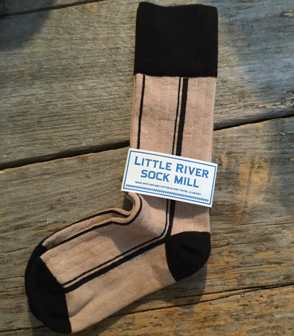 Stripe Natural Petite Crew - Black | by Little River Sock Mill