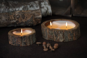 Tree Bark Double Wick Hand Poured Candle Ginger Patchouli | Himalayan Trading Post