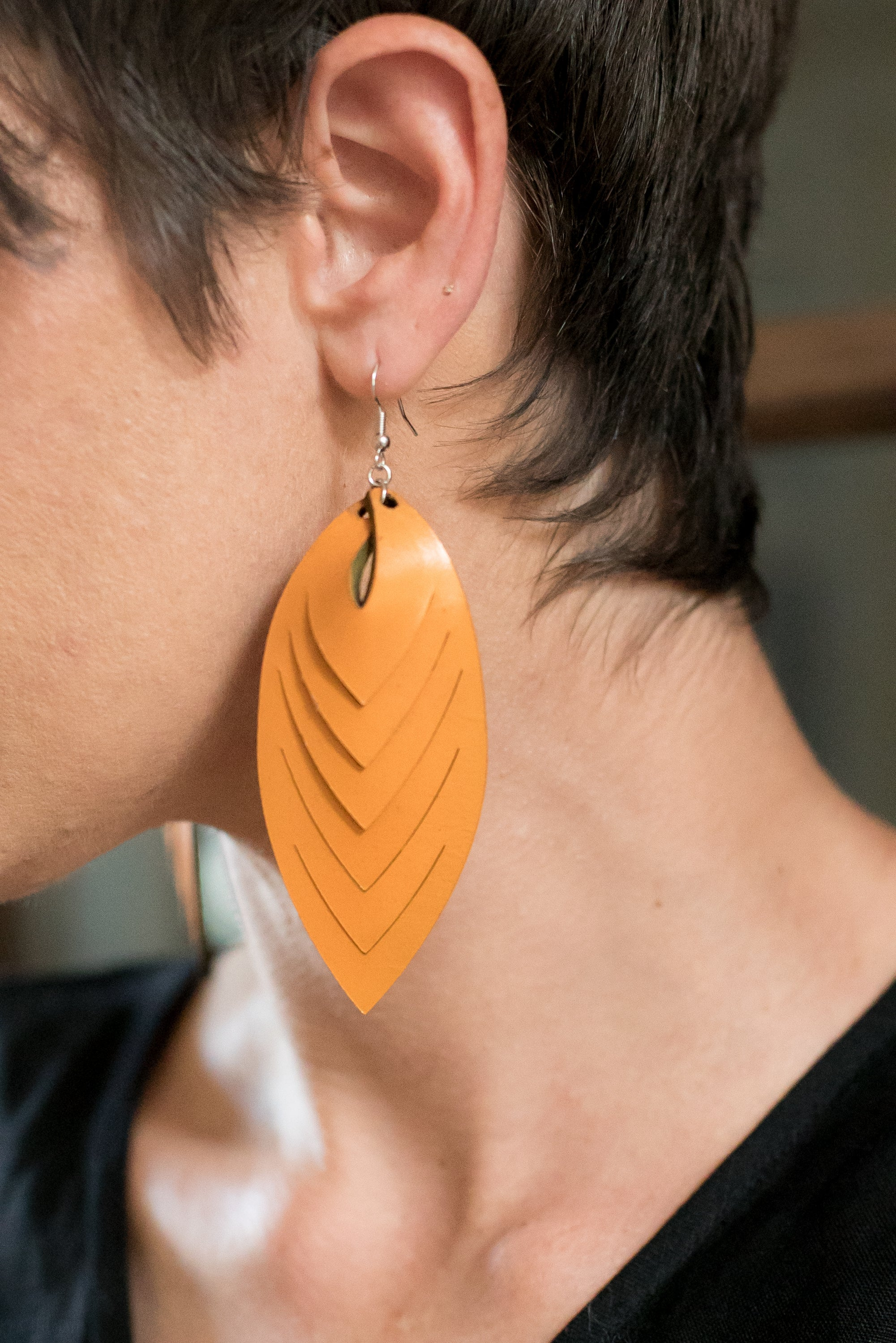 Leaf Leather Earrings | designed locally by Oynx and Wolf