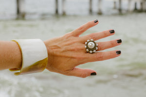 Silver Fresh Water Pearl Cocktail Ring | finds by Claudia