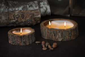 Tree Bark Single Wick Handmade Candle in Tobacco Bark