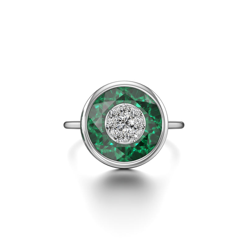 10mm,Round,Green Fusion Emerald