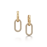 CONNECT Collection Gold And Diamond Pave Link Earrings