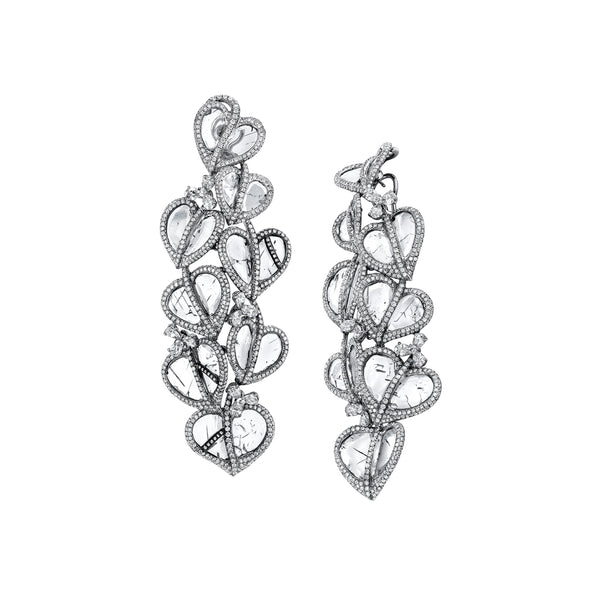 Slice Diamond Heart Earrings