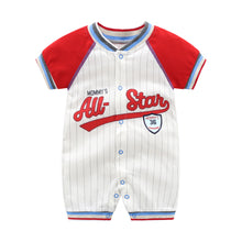 "Load image into Gallery viewer, ""Classy Baseball"" baby romper"
