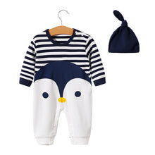 "Load image into Gallery viewer, ""Admire Penguin"" baby romper with beanie hat"