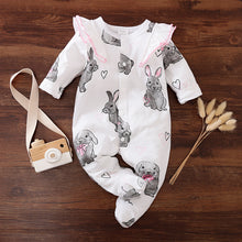 "Load image into Gallery viewer, ""Dreamy Rabbit"" baby romper"