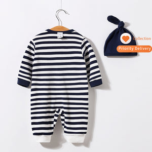 """Admire Penguin"" baby romper with beanie hat"