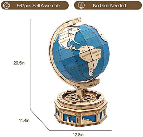 Wooden globe dimensions