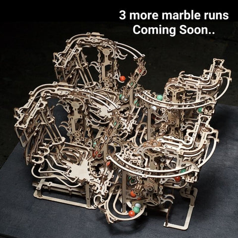 Wooden Marble run chain hoist model kit four joined together