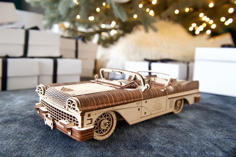 Wooden Model Kit of Vintage Convertible 1950s Cabriolet for adults - Christmas gift