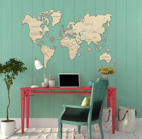 wooden world map puzzle kit in childrens bedroom
