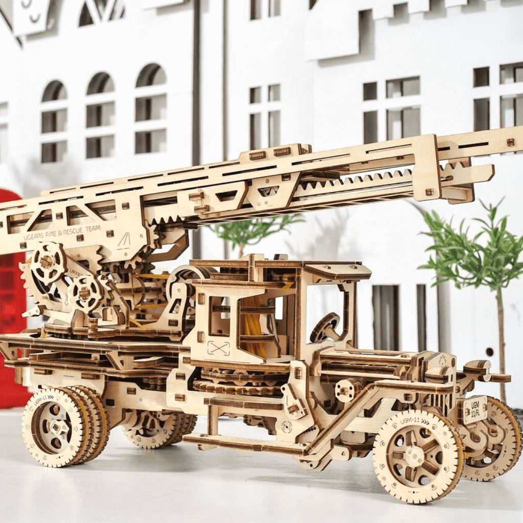 Wooden 3D Puzzle Fire Truck with Ladder