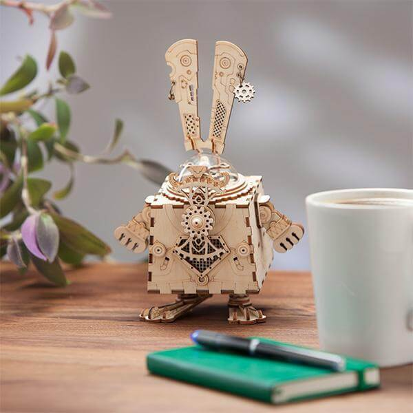 Wooden 3D Puzzle Mechanical Music Playing Bunny Model Kit