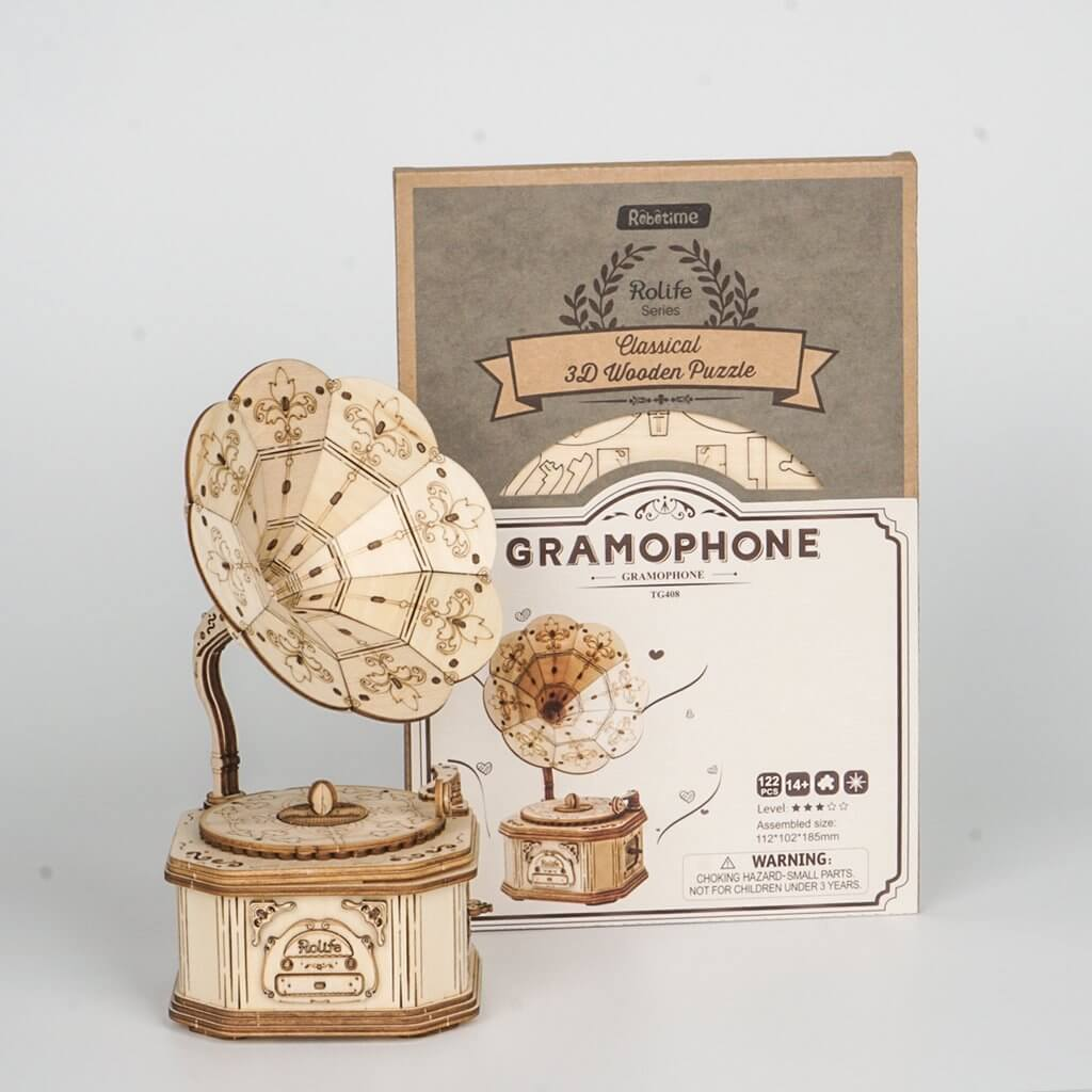 Wooden Puzzle Gramophone