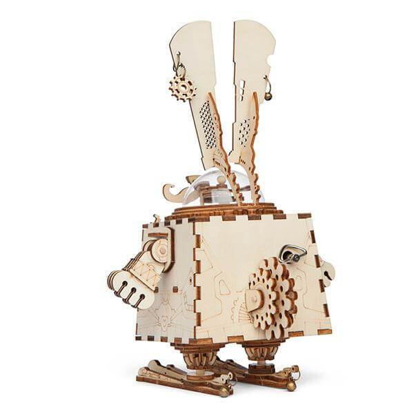 Wooden Steampunk Bunny Music Box