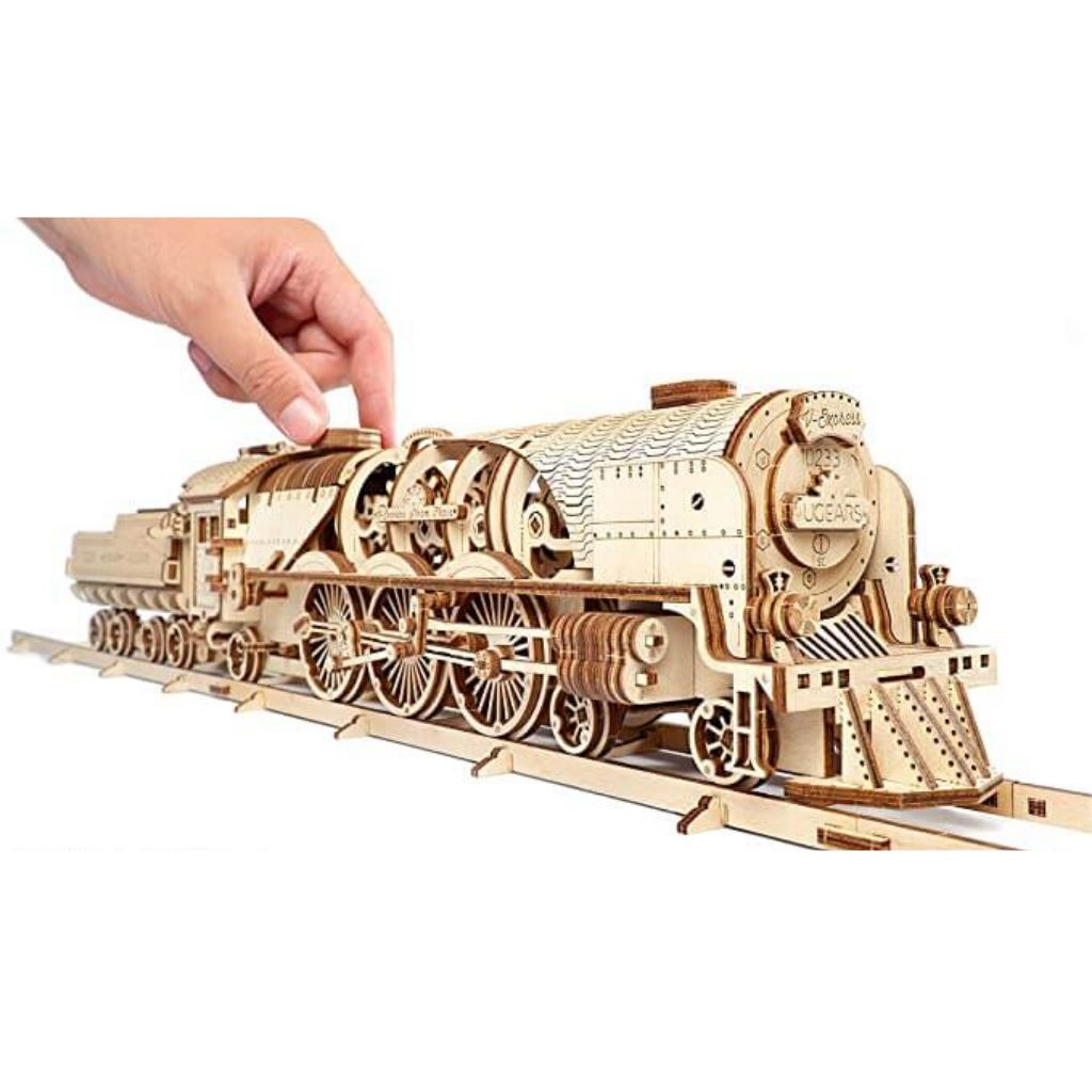 Wooden V-Express Steam Train with Tender