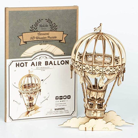 Hot Air Balloon Wooden 3D Puzzle Kit Ages 8+