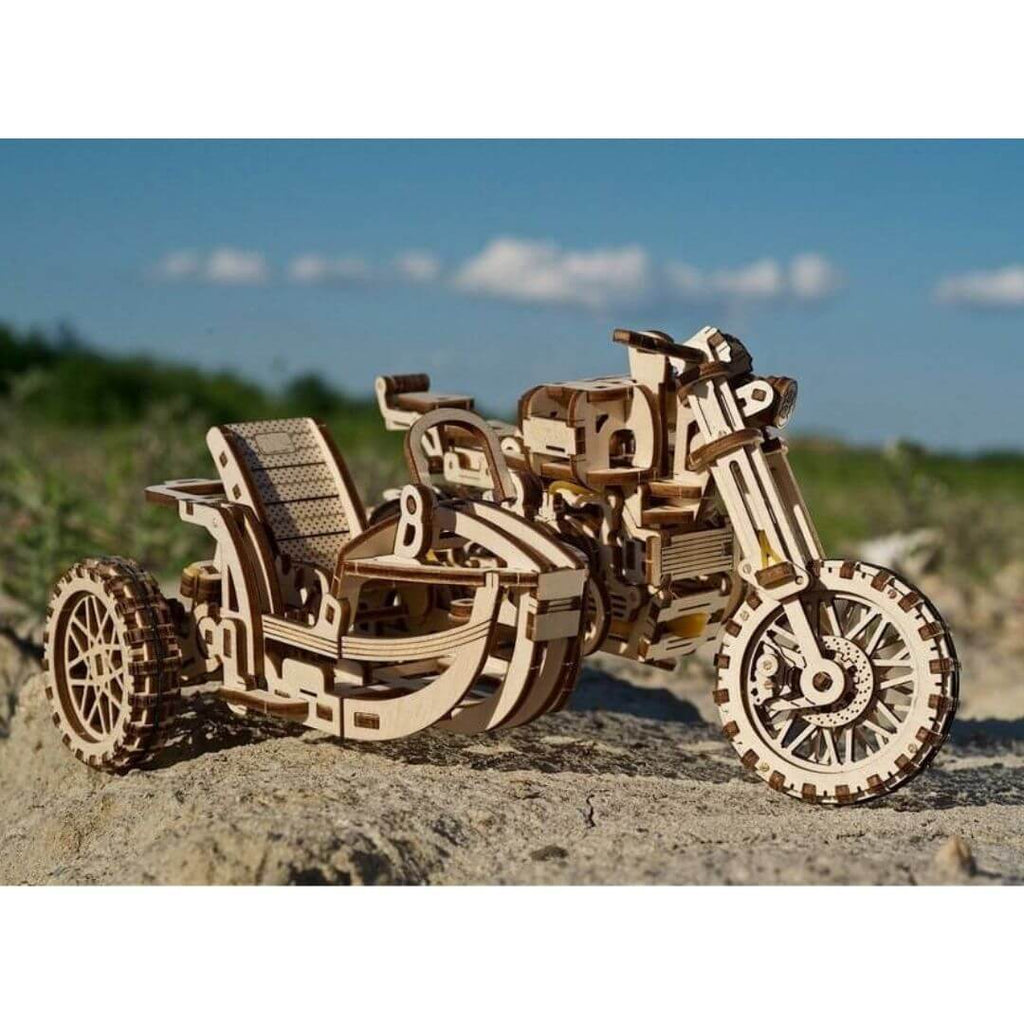 Wooden Sidecar Motorcycle