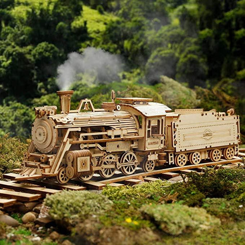 Wooden 3D Puzzle Train Locomotive with Tender Model Kit