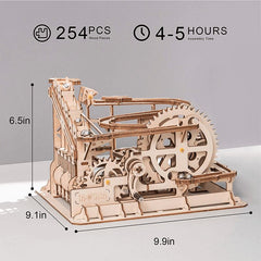 Wooden 3D Puzzle Waterwheel Coaster Marble Run Model Kit