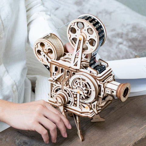 Wooden 3D Puzzle Mechanical Film Projector Vitascope Model Kit