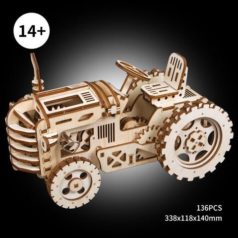 3D Puzzles Wooden Mechanical Tractor